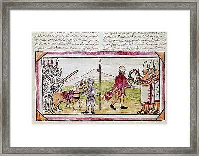 Cortes And Tlaxcalans Framed Print by Granger