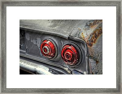 Corvair Tail Lights Framed Print by Ken Smith