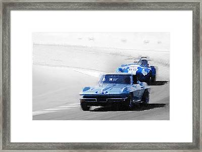 Corvette And Ac Cobra Shelby Watercolor Framed Print by Naxart Studio