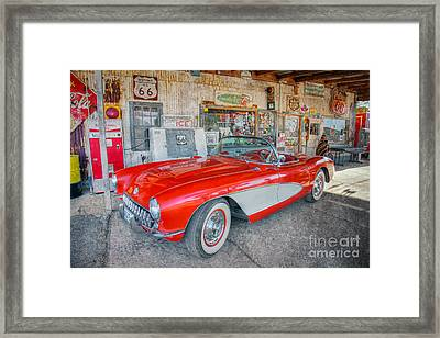 Corvette At Hackberry General Store Framed Print by Marianne Jensen