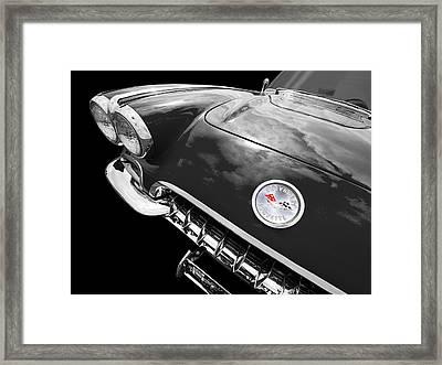 Corvette C1 1958 In Black And White Framed Print