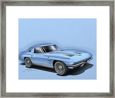 Corvette Sting Ray 1963 Light Blue Framed Print by Etienne Carignan