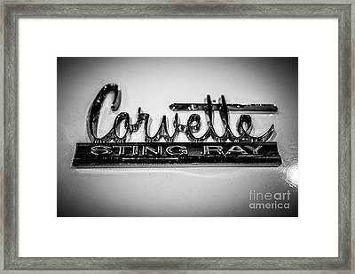 Corvette Sting Ray Emblem Framed Print by Paul Velgos
