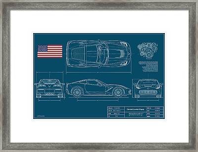 Corvette Stingray Blueplanprint Framed Print