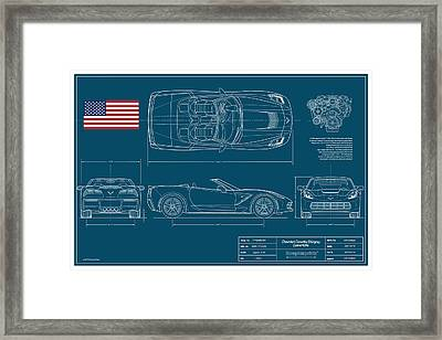 Corvette Stingray Convertible Blueplanprint Framed Print by Douglas Switzer