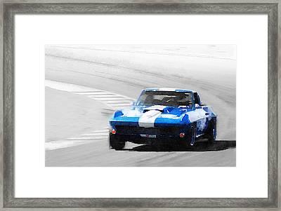 Corvette Stingray Laguna Seca Watercolor Framed Print