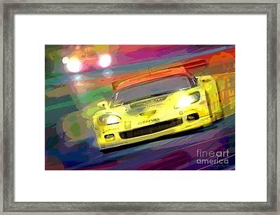 Corvette Thunders At Le Mans Framed Print