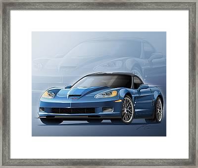 Corvette Zr1 Illustration Framed Print by Etienne Carignan