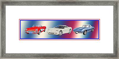 Corvettes In Red White And True Blue Framed Print by Jack Pumphrey