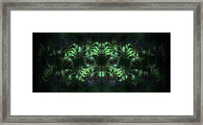 Cosmic Alien Eyes Green Framed Print