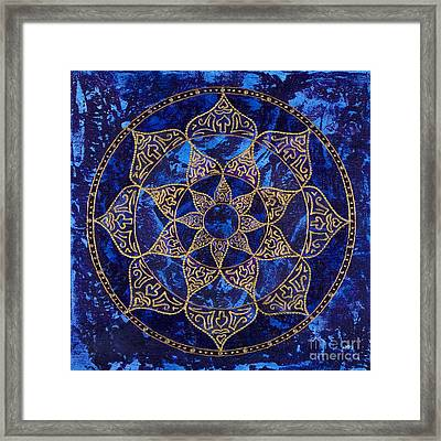 Cosmic Blue Lotus Framed Print by Charlotte Backman