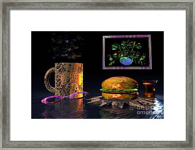 Framed Print featuring the digital art Cosmic Burger by Jacqueline Lloyd