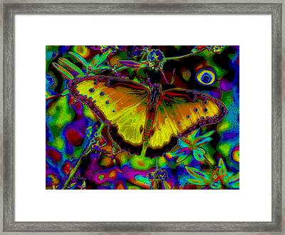 Cosmic Butterfly Framed Print by Rebecca Flaig