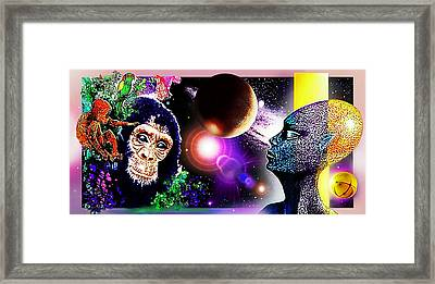 Framed Print featuring the digital art Cosmic Connected Citizens  by Hartmut Jager