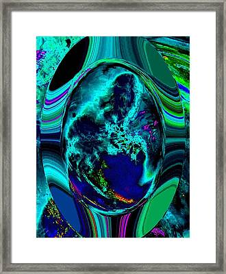 Cosmic Egg - Blue Framed Print by Colleen Cannon