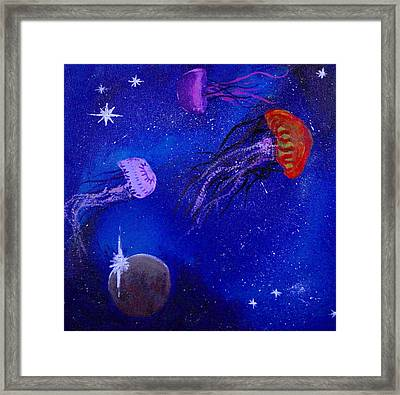 Cosmic Jellyfish  Framed Print by Andy Lawless