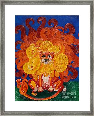 Cosmic Lion Framed Print by Cassandra Buckley