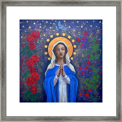 Cosmic Mary Framed Print by Sylvia Vaughan