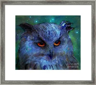 Cosmic Owl Painting Framed Print