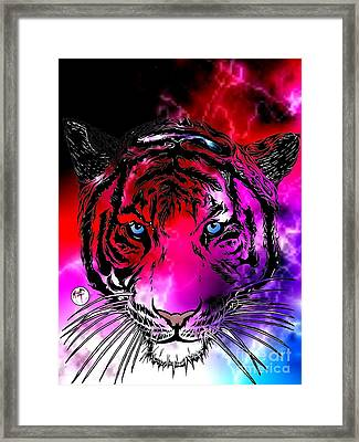 Cosmic Storm Tiger Framed Print by Justin Moore