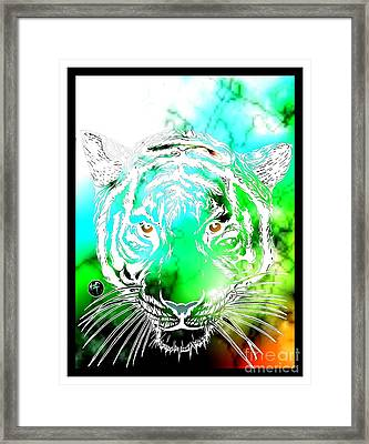 Cosmic Tiger Invert Edition Framed Print by Justin Moore