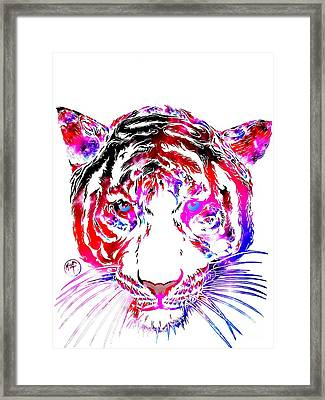 Cosmic Tiger Framed Print by Justin Moore