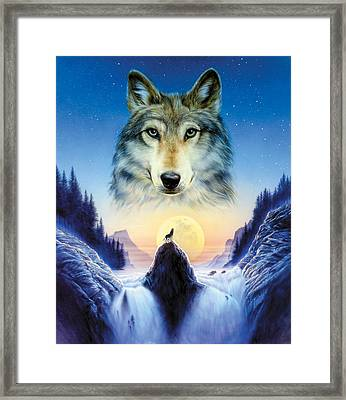 Cosmic Wolf Framed Print by Andrew Farley