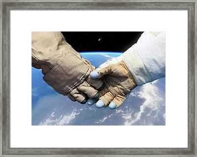 Cosmonaut And Astronaut Shaking Hands Framed Print by Detlev Van Ravenswaay