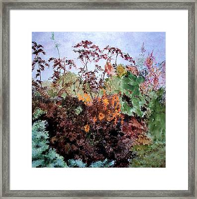 Cosmos And Kale Framed Print