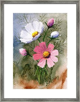 Framed Print featuring the painting Cosmos Blooms by Jo Appleby