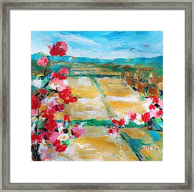 Cosmos In The Field 2 Framed Print by Becky Kim