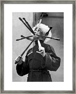 Cossack Sword Performer Framed Print by Underwood Archives