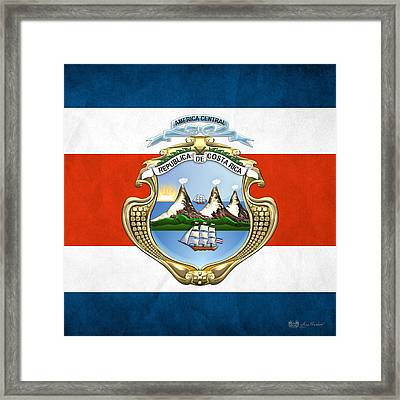 Costa Rica Coat Of Arms And Flag  Framed Print