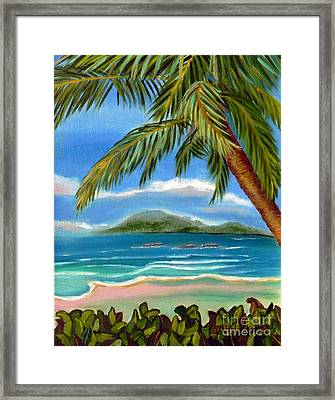Framed Print featuring the painting Costa Rica Highs   Costa Rica Seascape Mountains And Palm Trees by Shelia Kempf
