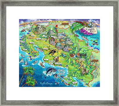 Costa Rica Map Illustration Framed Print