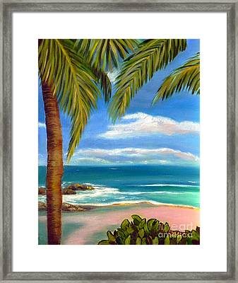 Framed Print featuring the painting Costa Rica Rocks   Costa Rica Seascape  by Shelia Kempf