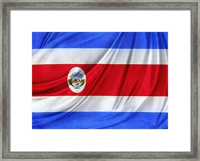 Costa Rican Flag Framed Print by Les Cunliffe