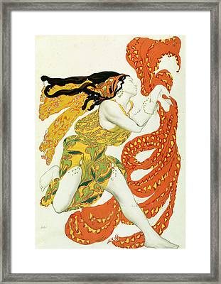 Costume Design For A Bacchante In Narcisse By Tcherepnin Framed Print by Leon Bakst