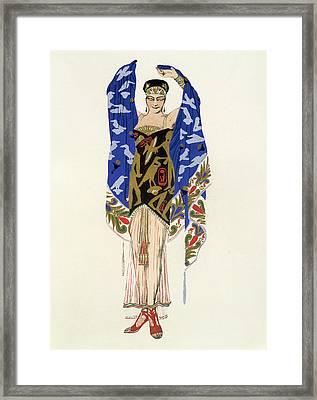 Costume Design For A Dancing Girl Framed Print by Leon Bakst
