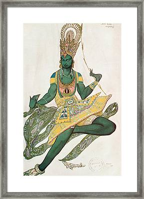 Costume Design For Nijinsky 1889-1950 For His Role As The Blue God, 1911 Wc On Paper Framed Print by Leon Bakst