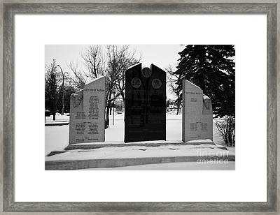 cote keeseekoose and key first nations war memorials in Kamsack Saskatchewan Canada Framed Print