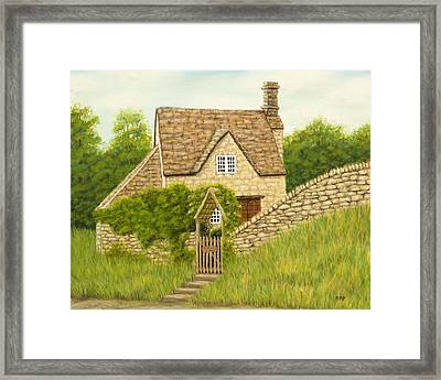 Cotswold Cottage Framed Print by Rebecca Prough