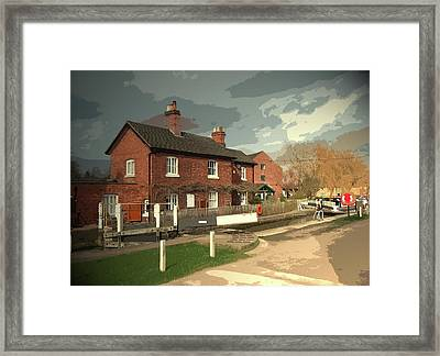 Cottage And Lock In Shardlow, Lock Number 2 On The Trent Framed Print by Litz Collection