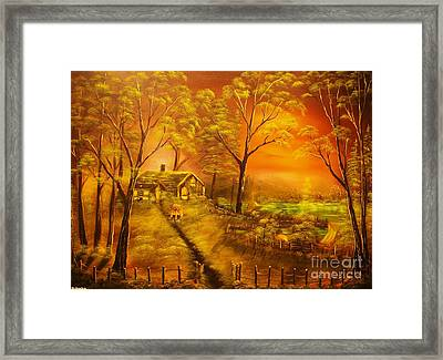 Cottage By The Lake-original Sold- Buy Giclee Print Nr 32 Of Limited Edition Of 40 Prints  Framed Print