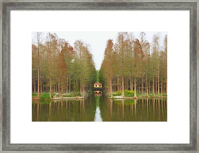 Cottage By The Lake Framed Print by Lanjee Chee