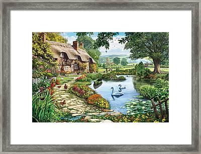 Cottage By The Lake Framed Print by Steve Crisp