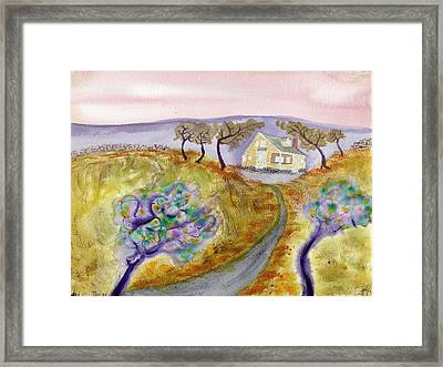 Cottage By The Purple Trees Framed Print