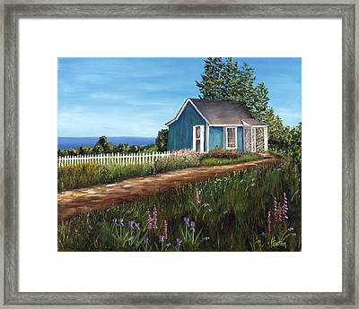 Cottage By The Sea Framed Print by Helen Eaton