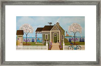 Cottage By The Sea Framed Print by Mary Charles
