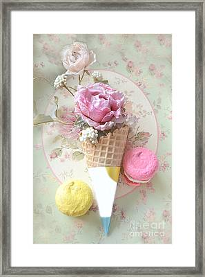 Shabby Chic Floral Pink Yellow Macarons Waffle Cone Floral Food Kitchen Art Framed Print by Kathy Fornal